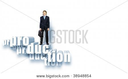 Protecting a good investment and making money concept - businessman hands with word Production