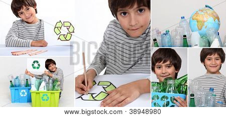 Montage of little boy recycling