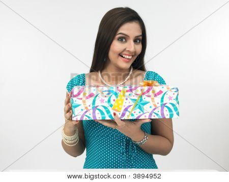 Asian Female With A Gift Box