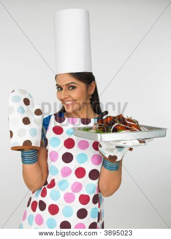 Lady With Her Roasted Chicken