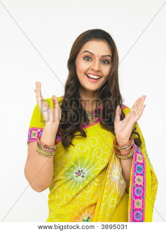 Asian Woman Of Indian Origin With Outstreched Palms