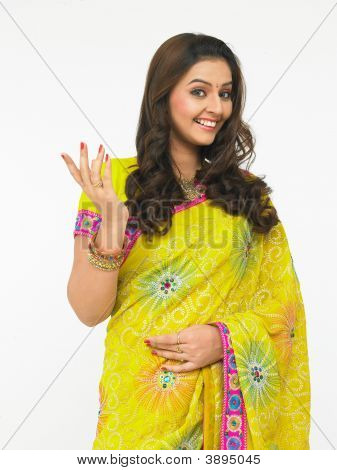 Asian Woman Of Indian Origin With Long Silky Hair