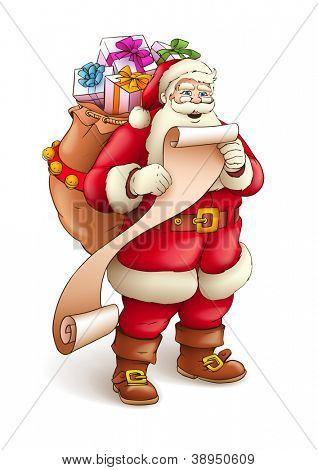 Santa Claus with sack full of gifts reading list of good kids. Vector illustration isolated on white background EPS10