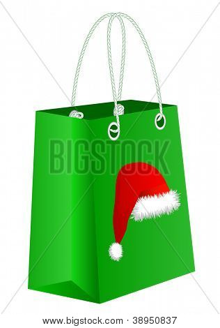 Green shopping bag with Santa Claus hat, vector