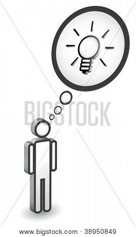 Man icon with idea concept, bulb as invention sign, eps10, 3d vector.