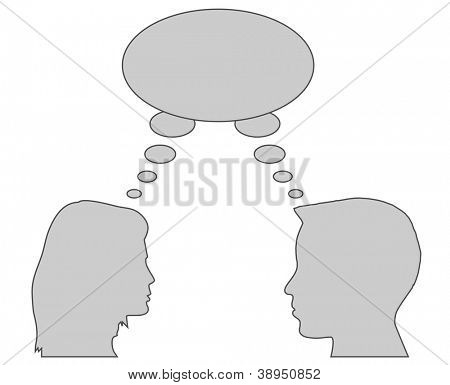silhouettes of people talking, eps 10 vector