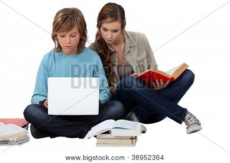 Two teenage friends revising