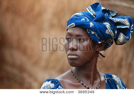 African Woman In Blue Dress