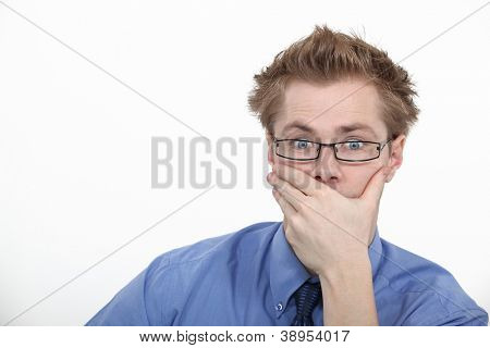 Man staring in astonishment