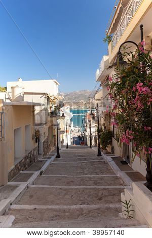 A Walking Path With Steps In The Town Of Sitia