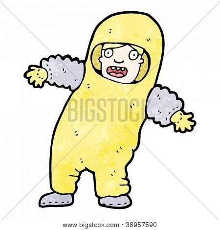 cartoon man in protective suit