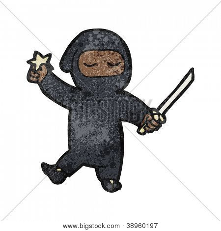 cartoon ninja with throwing star