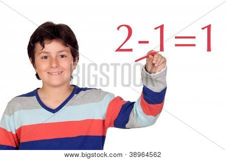 Adorable child student writing a math operation isolated on a over white background