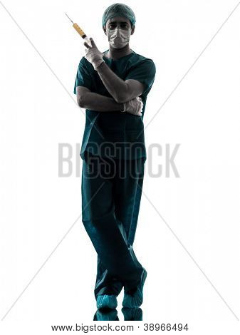 one caucasian doctor suegon  Anesthetist man holding surgery needle  silhouette isolated on white background