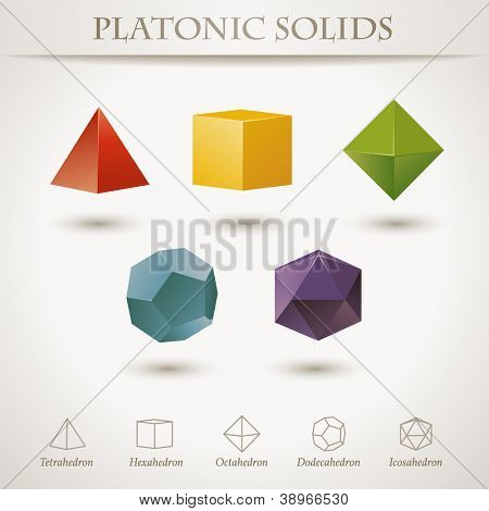 Colorful set of geometric shapes, platonic solids (vector also available)