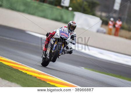 CHESTE - NOVEMBER 9: Jorge Lorenzo during MOTOGP of the Comunitat Valenciana, on November 9, 2012, in Ricardo Tormo Circuit of Cheste, Valencia, Spain
