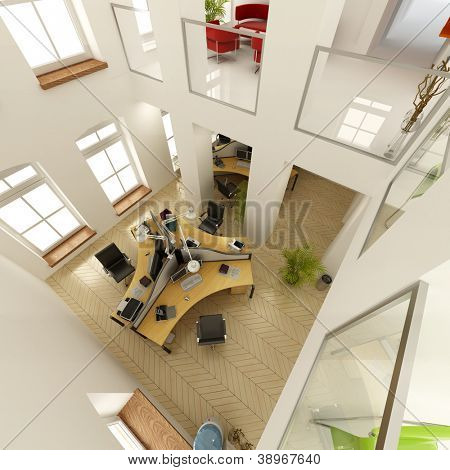 3D rendering of an aerial view of a luxurious office