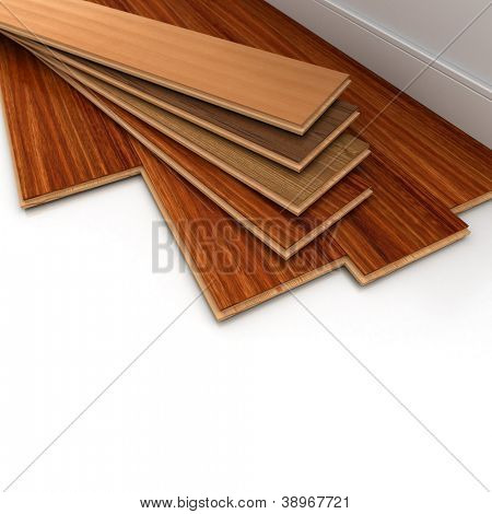 3D rendering of a parquet floor installation