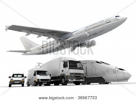 3D rendering of a flying plane, a truck, a lorry, a train and a cargo container