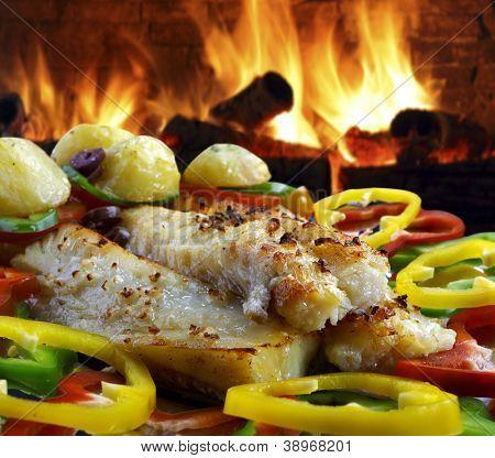 Cod potato pepper