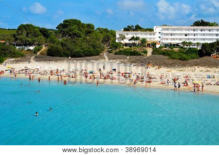 FORMENTERA, SPAIN - SEPTEMBER 19: Cala Saona Beach on September 19, 2012 in Formentera, Balearic Islands, Spain. Formentera is renowned across Europe for many white beaches like Cala Saona