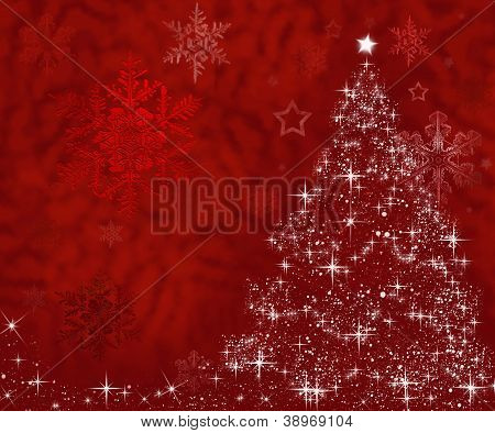 Christmas Tree Made Of Stars On Red Background With Free Space