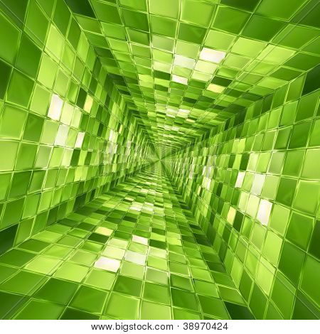 Green mosaic tunnel