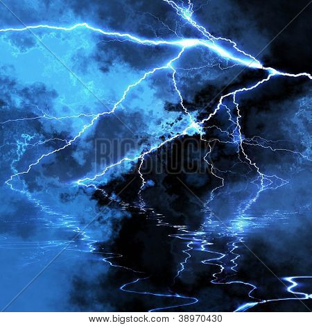 Dramatic lightning background with water reflection