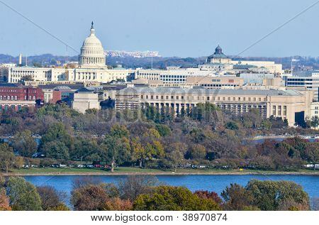 Washington DC skyline with United States Capitol Building and other federal buildings in autumn