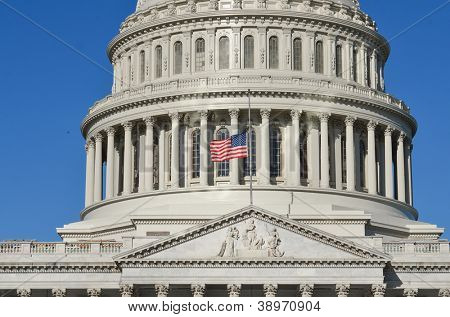 United States Capitol Building east facade dome detail - Washington DC United States
