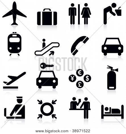Conjunto de iconos de aeropuerto.Ilustración de Vector