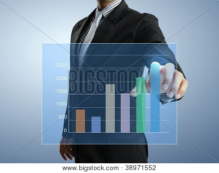 Geschäftsleute hand schieben schreiben Diagramms
