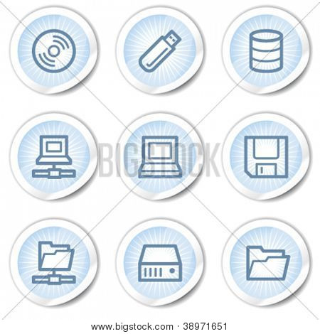 Drives and storage web icons, light blue stickers