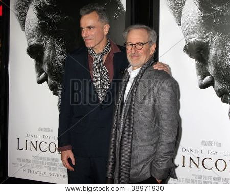 "LOS ANGELES - NOV 8:  Daniel Day-Lewis, Steven Spielberg arrives at the ""Lincoln"" Premiere at the AFI Fest at Graumans Chinese Theater on November 8, 2012 in Los Angeles, CA"