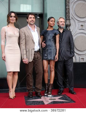 LOS ANGELES - NOV 8:  Berenice Marlohe, Javier Bardem, Naomie Harris, Sam Mendes at the Hollywood Walk of Fame Ceremony for Javier Bardem at El Capitan Theater on November 8, 2012 in Los Angeles, CA