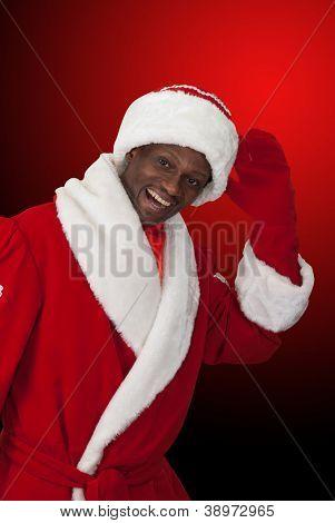 surprised black santa claus on a color background
