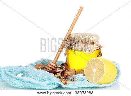 Healthy ingredients for strengthening immunity on warm scarf isolated on white