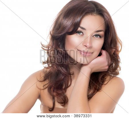 Beautiful Woman Portrait.Clear Fresh Skin.Isolated on a White Background. Skincare.Spa