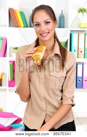 business woman has snack