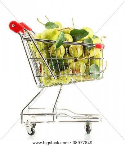 Juicy flavorful pears in cart isolated on white