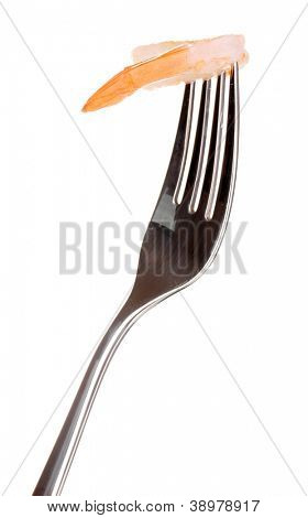 Shrimp on a fork isolated on white