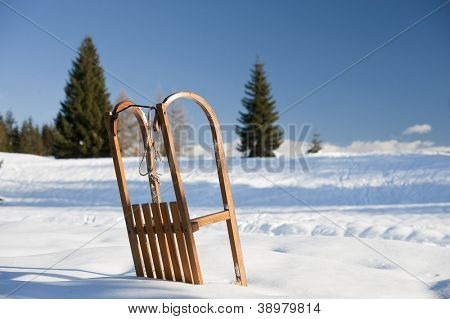 Sled on the snow