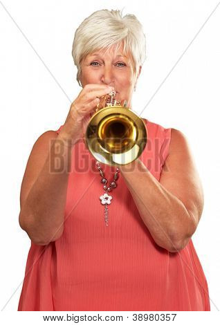 Mature Woman Blowing Her Trumpet Isolated On White Background