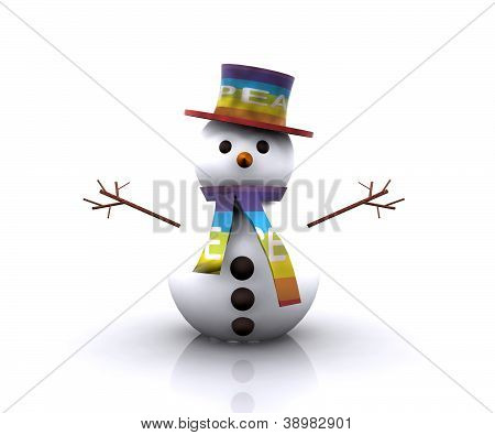Snowman with the colors of the flag of Peace - 3D