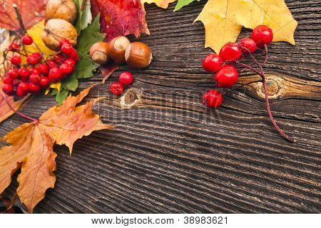Autumn Leaves over wooden texture background with copy space