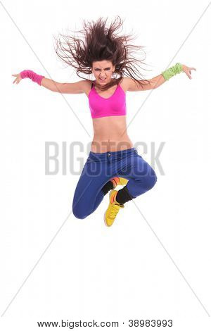 modern style woman dancer jumping and screaming, over a white background