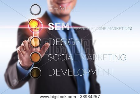 business man pushing the search engine marketing button from a list of choices