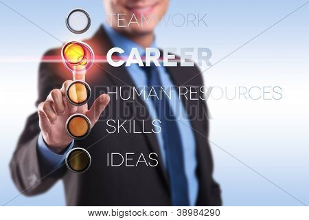 young business man choosing the career button from a list