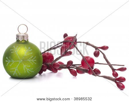 Green Christmas ball isolated on white background cutout