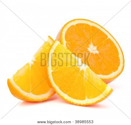 Orange fruit half and two segments or cantles isolated on white background cutout